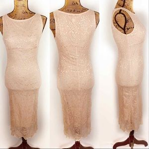 Necessary Objects Lace Bodycon Dress Nude